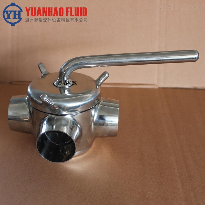 旋塞阀-源浩卫生级不锈钢手动三通焊接旋塞阀