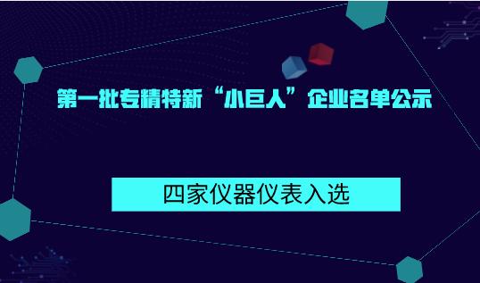 """第一批专精特新""""小巨人""""企业名单公示 四家仪器仪表入选"""